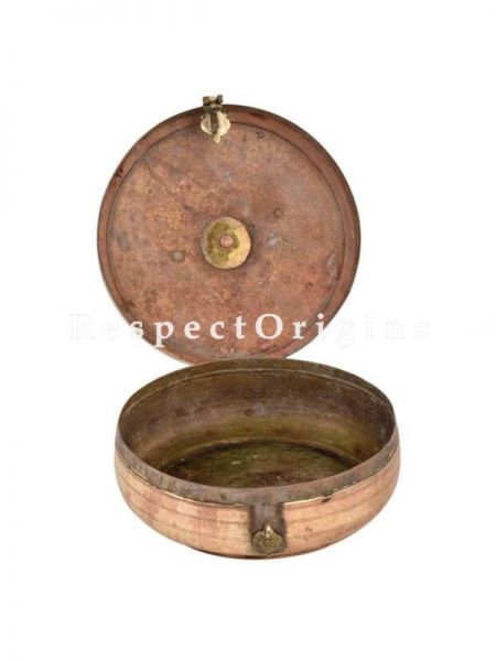 Buy Vinatge Round Brass Roti Collectible Box With Engraved Lid with Floral Design At RespectOrigins.com