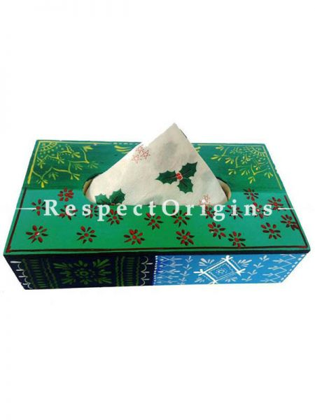 Buy Flower Painted  Green Rectangular Tissue Holder or Napkin box; Wood At RespectOrigins.com