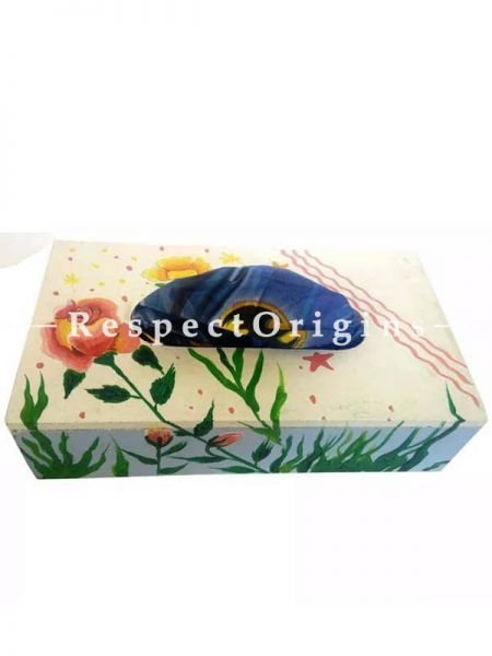 Buy Flower Painted Rectangular Tissue Holder or napkin Box, Wood At RespectOrigins.com