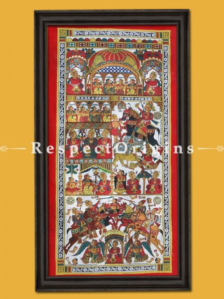 Vertical  Folk Art of Rajasthan; Phad Scroll Painting 15x30