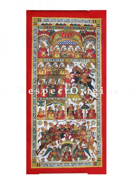 Buy Vertical Folk Art of Rajasthan.Pabbuji ki Phad Scroll Painting 15x30;RespectOrigins.com