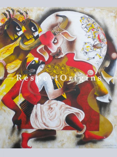 Vertical Art Painting of Folk dance 5 ;Acrylic on Canvas; 30in X 36in at RespectOrigins.com