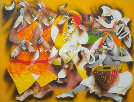Horizontal Art Painting of Folk dance 7 ;Acrylic on Canvas; 48in X 36in at RespectOrigins.com