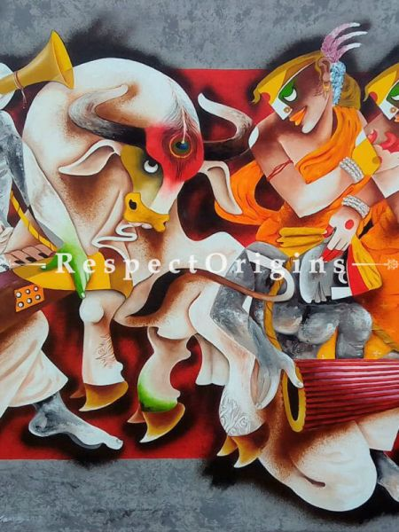 Folk Dance; Acrylic On Canvas 48X36 Inches; Horizontal Painting