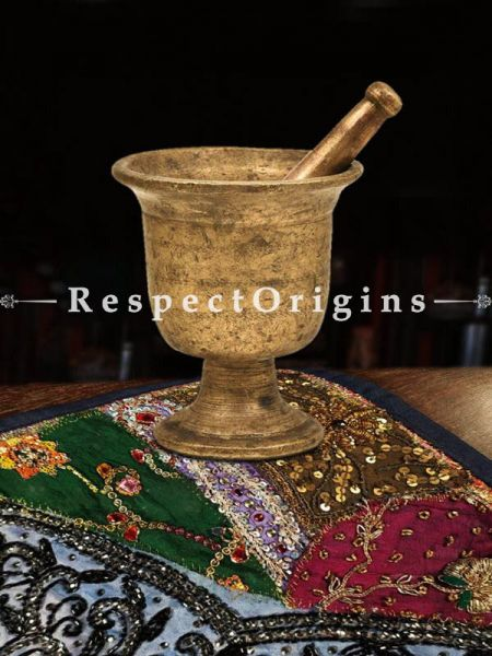 Buy Footed Urn Shaped Solid Brass Mortar and Pestle At RespectOrigins.com