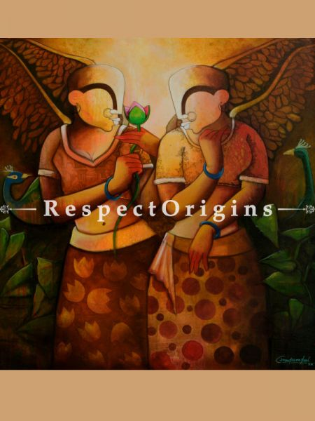 Square Art Painting of Friendship Handpainted Art Painting ;; 45in X 45in;Acrylic on Canvas at RespectOrigins.com