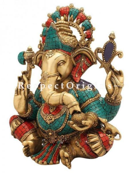 Buy Exclusive Lord Ganesha Brass Statue; Multicolor; 18 inch At RespectOrigins.com