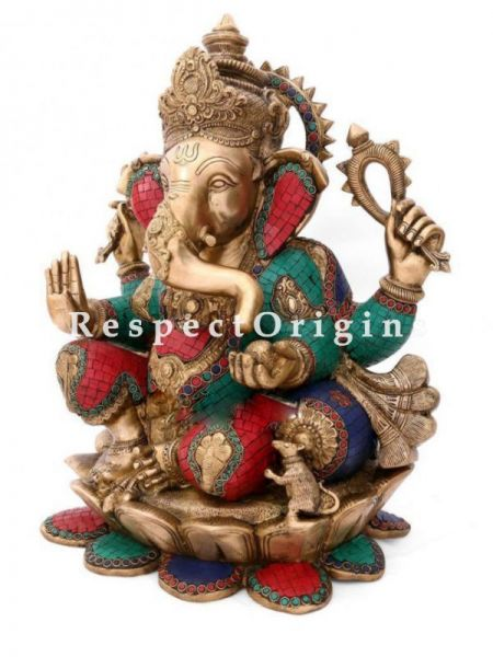 Buy Vibrant Handcrafted Lord Ganesha Brass Statue; 22 inch At RespectOrigins.com