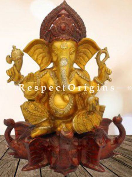 Buy Well Carved Antique Finish Idol of Lord Ganesha; Brass; 16 inch At RespectOrigins.com