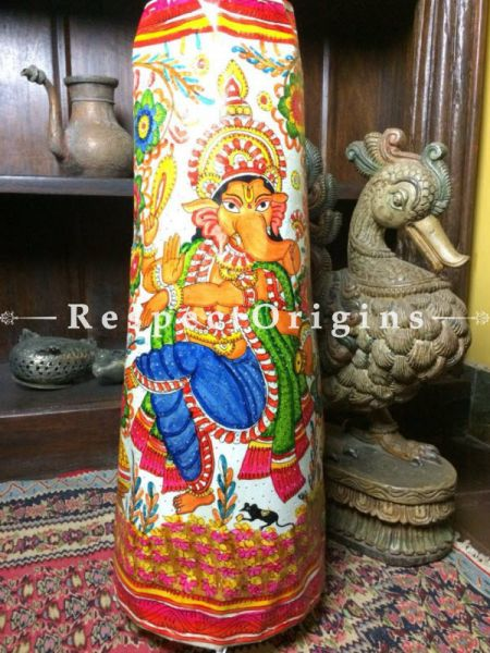 Buy Ganesh Dancing Painted Cylindrical Leather Lampshade;  25 in At RespectOrigins.com