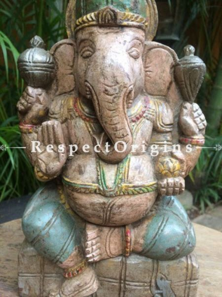 Buy Ganesha Statue or Figurine; Beige, Tamil Nadu Wood Craft, 10x2x6 in At RespectOrigins.com