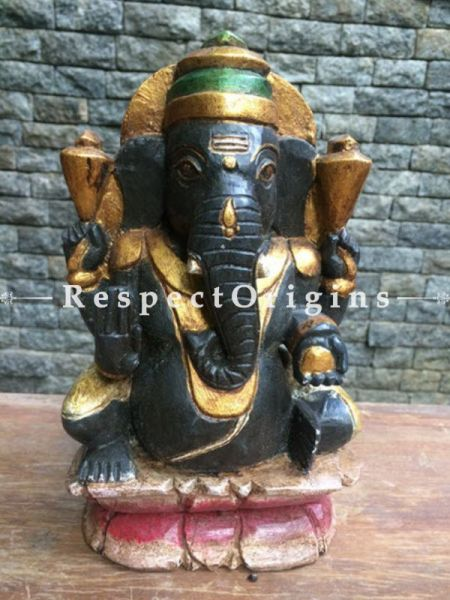 Buy Ganesha Statue or Figurine; Black Tamil Nadu Wood Craft, 10x3x6 in At RespectOrigins.com