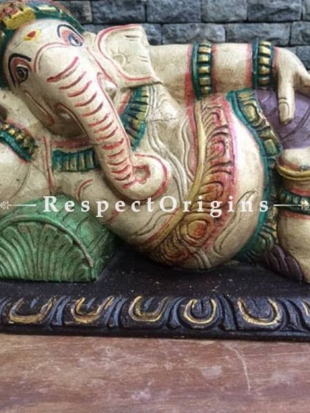 Buy Ganesha Statue or Figurine; Beige, Tamil Nadu Wood Craft, 9x6x15 in At RespectOrigins.com