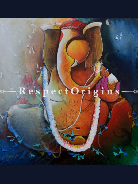 Buy Ganesha; Acrylic On Canvas Painting; 30 X 30 Inches  at RespectOrigins.com