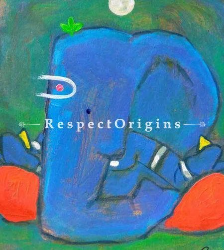Buy Bhuvanpati - Ganesha Painting - Acrylic Color On Paper - 8 X 8 At RespectOrigins.com