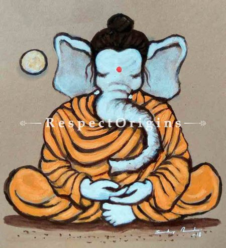 Ganapati; Ganesha Painting; Acrylic Color On Paper; 8x8 in