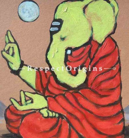 Buy Gauriputra - Ganesha Painting - Acrylic Color On Paper - 8 X 8 At RespectOrigins.com