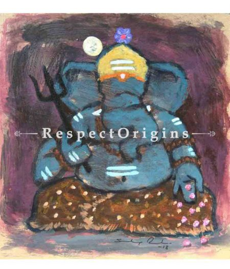 Lambodara; Ganesha Painting; Acrylic Color On Paper; 8x8 in