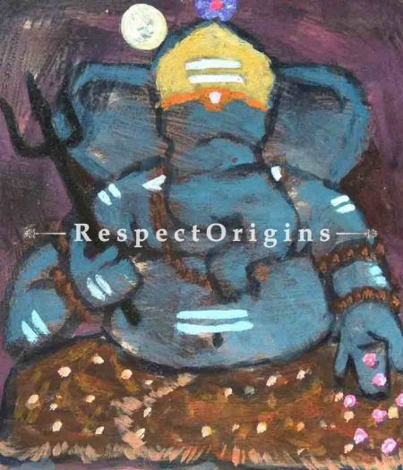 Buy Lambodara - Ganesha Painting - Acrylic Color On Paper - 8 X 8 At RespectOrigins.com