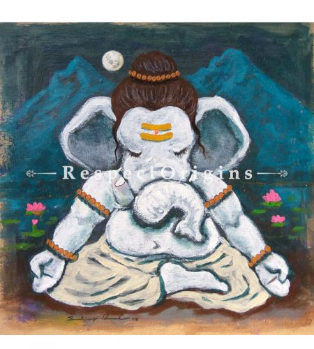 Devavrata; Ganesha Painting; Acrylic Color On Paper; 8x8 in