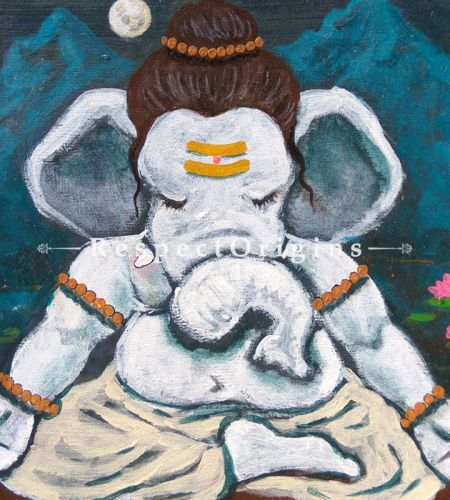 Buy Devavrata - Ganesha Painting - Acrylic Color On Paper - 8 X 8 At RespectOrigins.com
