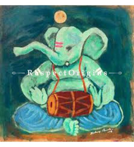 Gajanan; Ganesha Painting; Acrylic Color On Paper; 8x8 in