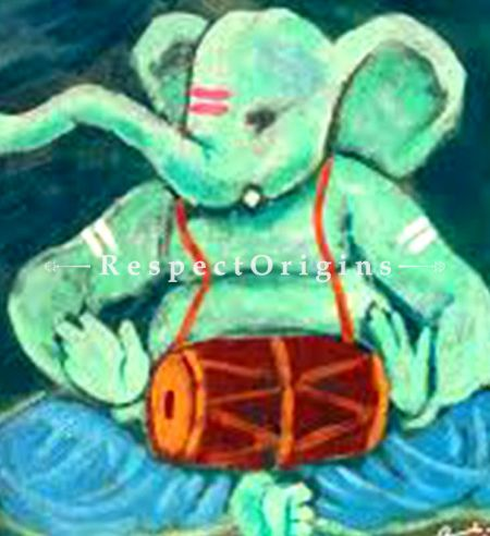Buy Gajanan - Ganesha Painting - Acrylic Color On Paper - 8 X 8 At RespectOrigins.com