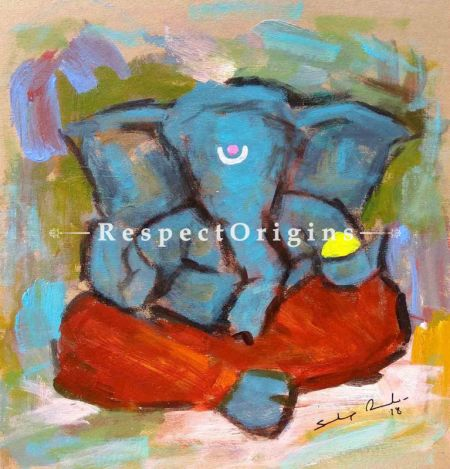 Kapila; Ganesha Painting; Acrylic Color On Paper; 8x8 in