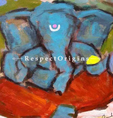 Buy Kapila - Ganesha Painting - Acrylic Color On Paper - 8 X 8 At RespectOrigins.com