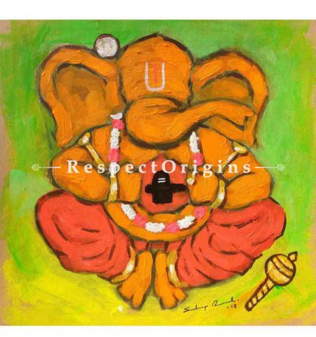 Vidhyadhar; Ganesha Painting; Acrylic Color On Paper; 8x8 in