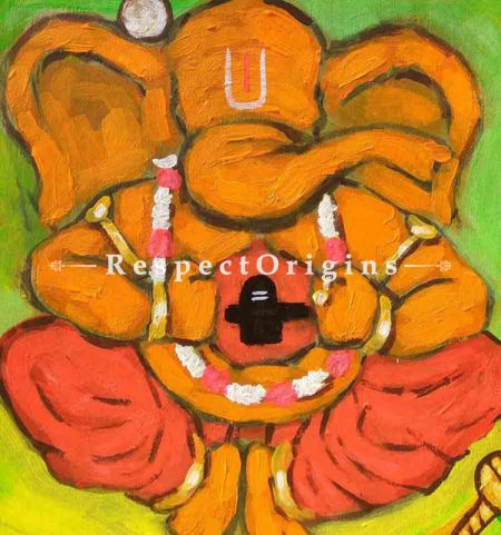 Buy Vidhyadhar - Ganesha Painting - Acrylic Color On Paper - 8 X 8 At RespectOrigins.com