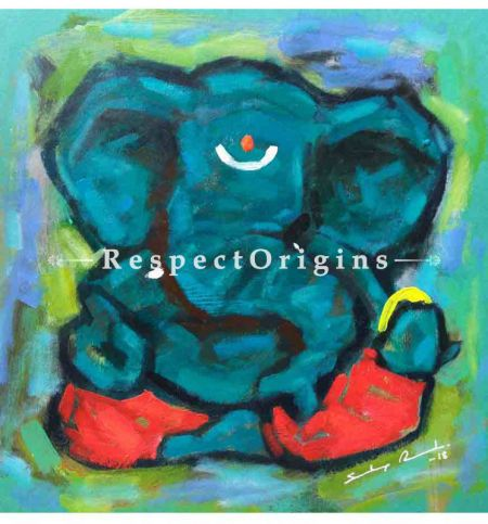 Alampata; Ganesha Painting; Acrylic Color On Paper; 8x8 in