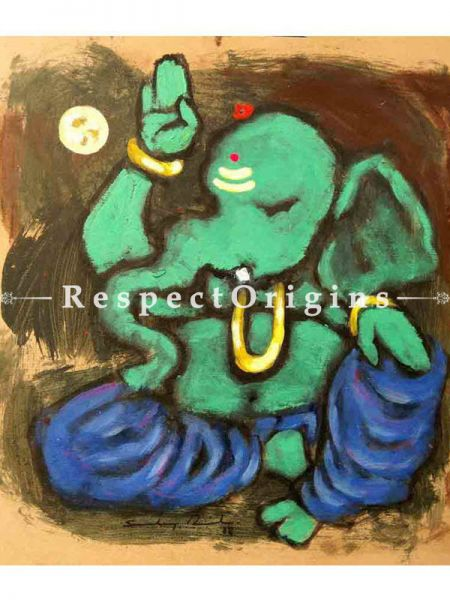Pitambara; Ganesha Painting; Acrylic Color On Paper; 8x8 in