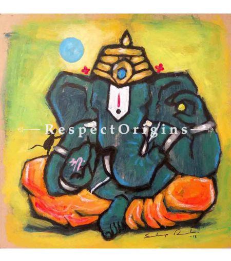 Rudrapriya; Ganesha Painting; Acrylic Color On Paper; 8x8 in
