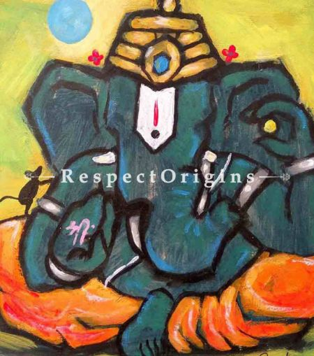 Buy Rudrapriya - Ganesha Painting - Acrylic Color On Paper - 8 X 8 At RespectOrigins.com