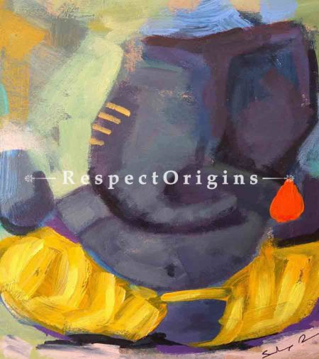 Buy Yashaskaram - Ganesha Painting - Acrylic Color On Paper - 8 X 8 At RespectOrigins.com