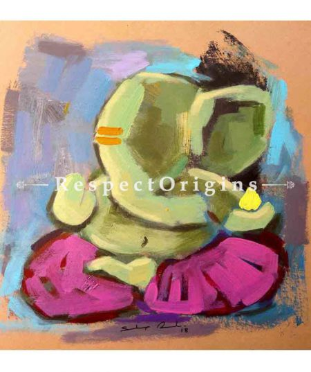 Durja; Ganesha Painting; Acrylic Color On Paper; 8x8 in