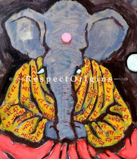 Buy Ekadanta - Ganesha Painting - Acrylic Color On Paper - 8 X 8 At RespectOrigins.com