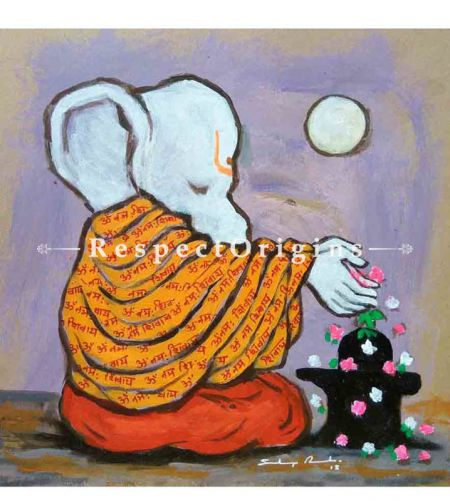 Avighna; Ganesha Painting; Acrylic Color On Paper; 8x8 in