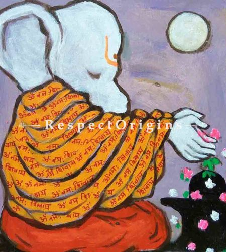 Buy Avighna - Ganesha Painting - Acrylic Color On Paper - 8 X 8 At RespectOrigins.com