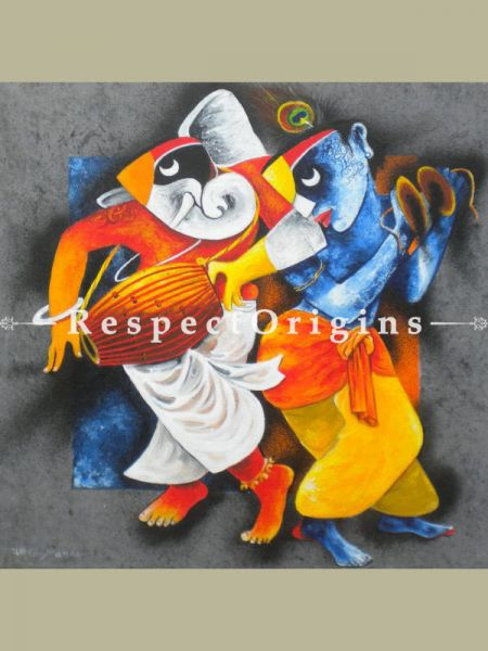 Buy Ganesha and Krishna Acrylic On Canvas 24X24 Inches Square Painting at RespectOrigins.com