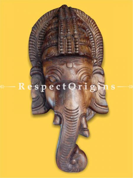 Buy Lord Ganesha Wooden Hand-carved Large Mask 12 Inches Online at RespectOrigins.com