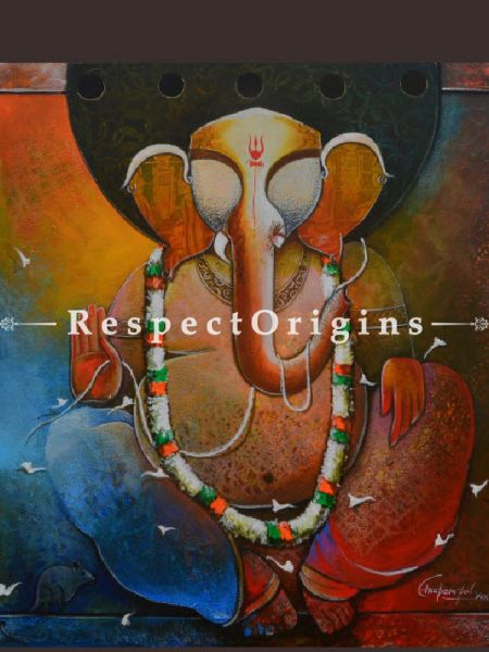 Buy Ganesha; Mixed Media On Canvas Painting; 36 X 36 Inches  at RespectOrigins.com
