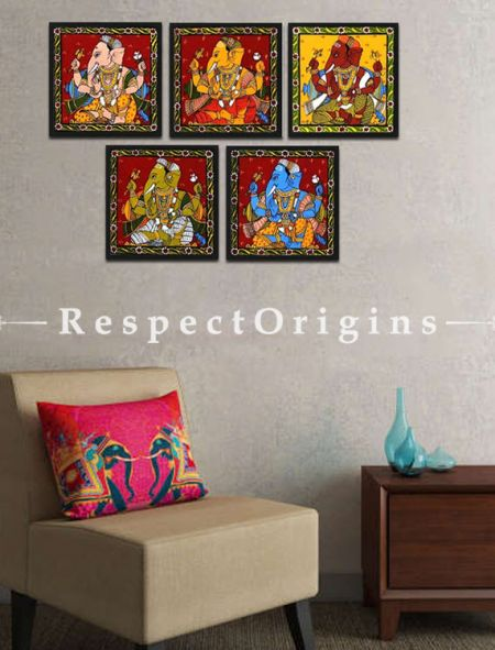 Buy Set of 5 Painted Scrolls of Cheriyal of Ganesha Folk Art Painting On Canvas 8X8 inches Square;RespectOrigins