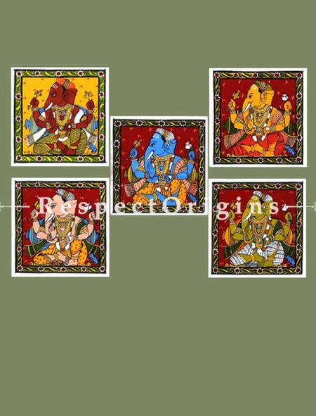 Ganesha Series; Spectacular Rare Set of 5 Painted Scrolls of Cheriyal of Ganesha Folk Art Painting On Canvas; 8x8 in; Square; Traditional Painting