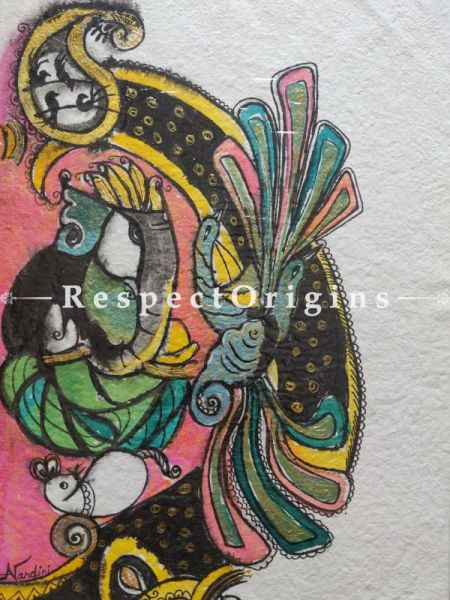 Ganesha With Peacock With Mount; Mix Media On Paper Painting; 24 X 17 Inches; RespectOrigins.com
