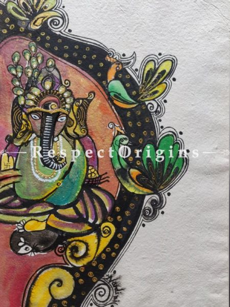 Ganesha With Peacock II With Mount; Mix Media On Paper Painting; 24 X 17 Inches; RespectOrigins.com