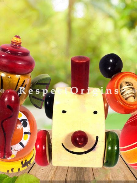 Buy Ganesha, Train Engine & Latoo Set; Channapatna Toys; Safe and non-toxic Colors At RespectOrigins.com
