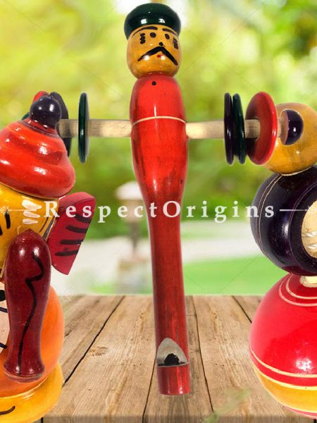 Buy Wooden Ganesha, Rattle & Latoo Set; Channapatna Toys; Safe and non-toxic Colors At RespectOrigins.com