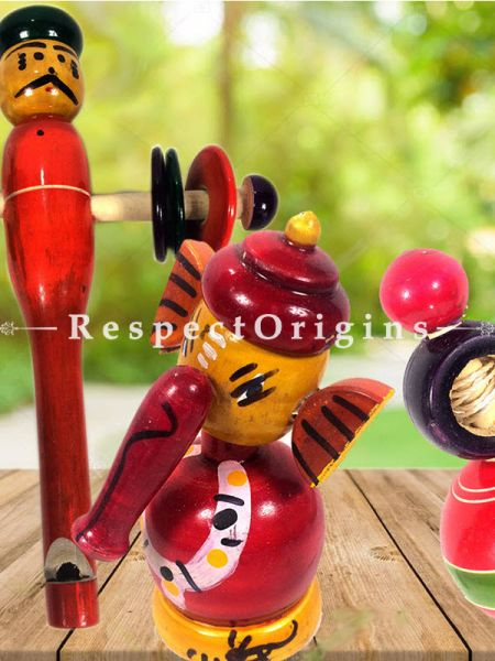Buy Eco friendly Ganesha, Rattle & Latoo Set; Channapatna Toys; Safe and non-toxic Colors At RespectOrigins.com